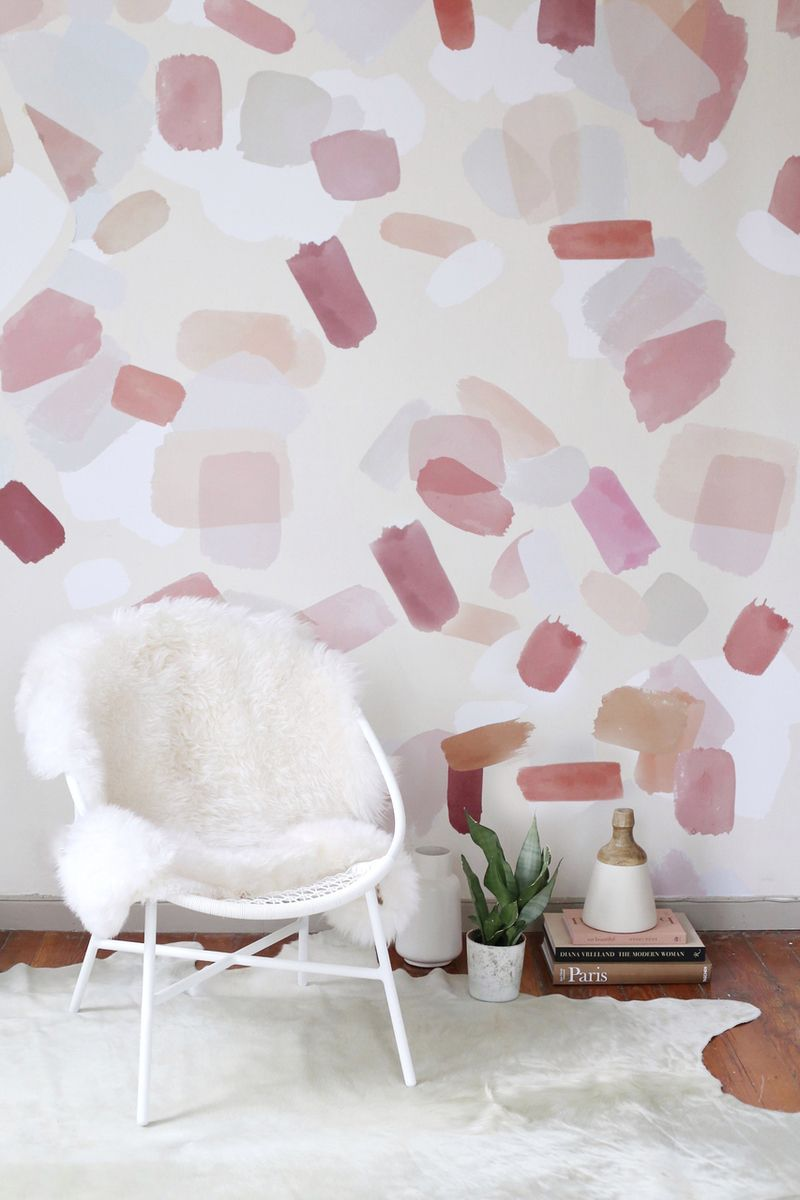 Large Pink Brush Strokes Interior Wall Paint Wall Decal Pattern