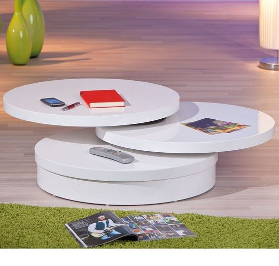 lana coffee table in a round swivel style in white gloss | house