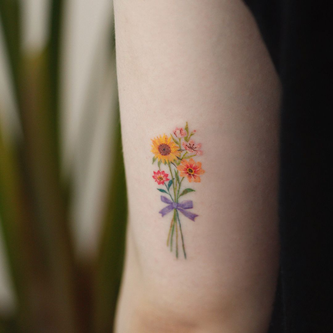 Image may contain plant Colorful flower tattoo, Flower