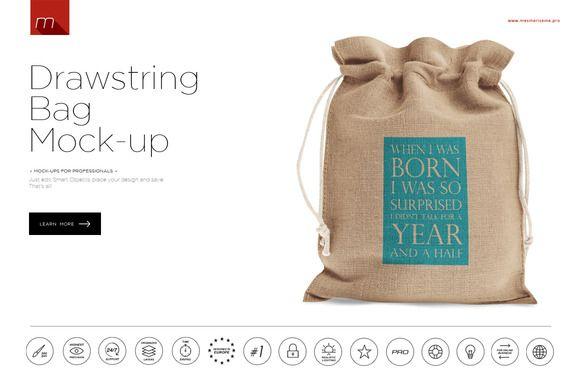 Drawstring Bag Mock-up by Mesmeriseme on Creative Market