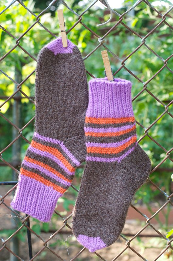 This great warm and handmade pair of socks is made of 100% wool thread! #KnitAndCozy