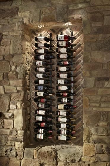 fe1fb416cda stone and brick dining room accent wall with wine rack