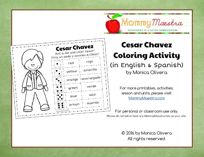 Mommy Maestra Free Printable Cesar Chavez Coloring