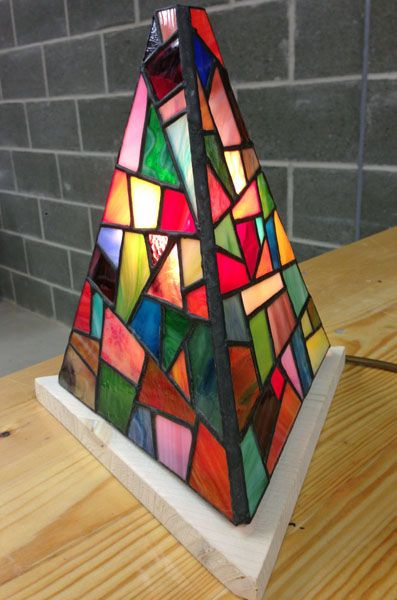Tiffany stained glass pyramid lamp by Kathryn Sills