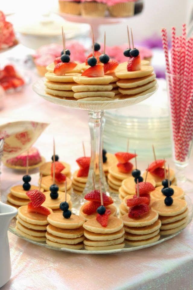 ideas for bridal shower brunch food%0A Brunch recipe  mini pancake skewers  fruit and pancakes