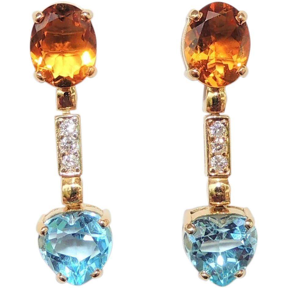 34ae577fa2e 18k Citrine, Diamond & Blue Topaz Heart Drop Earrings, Pierced, Post ...