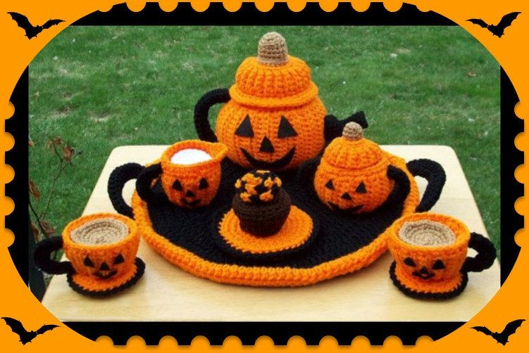 Jacko Lantern Pumpkin Halloween Party Tea Set Crochet Patterns. $6.99, via Etsy.