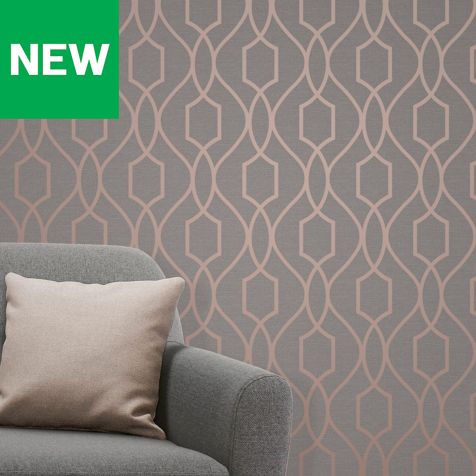 Fine Decor Grey Copper Effect Geometric Wallpaper Copper And Grey Living Room Wallpaper For Living Room 2019 Geometric Wallpaper