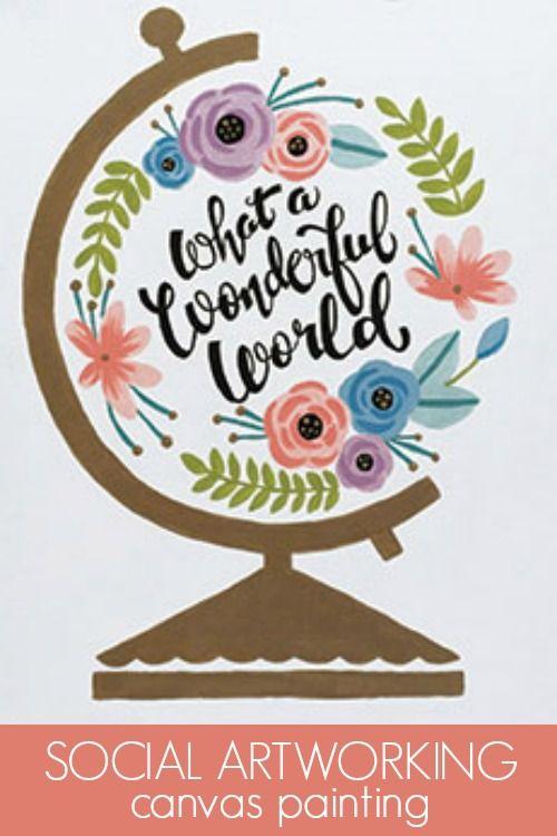 social artworking wonderful world globe trendy word art finds a