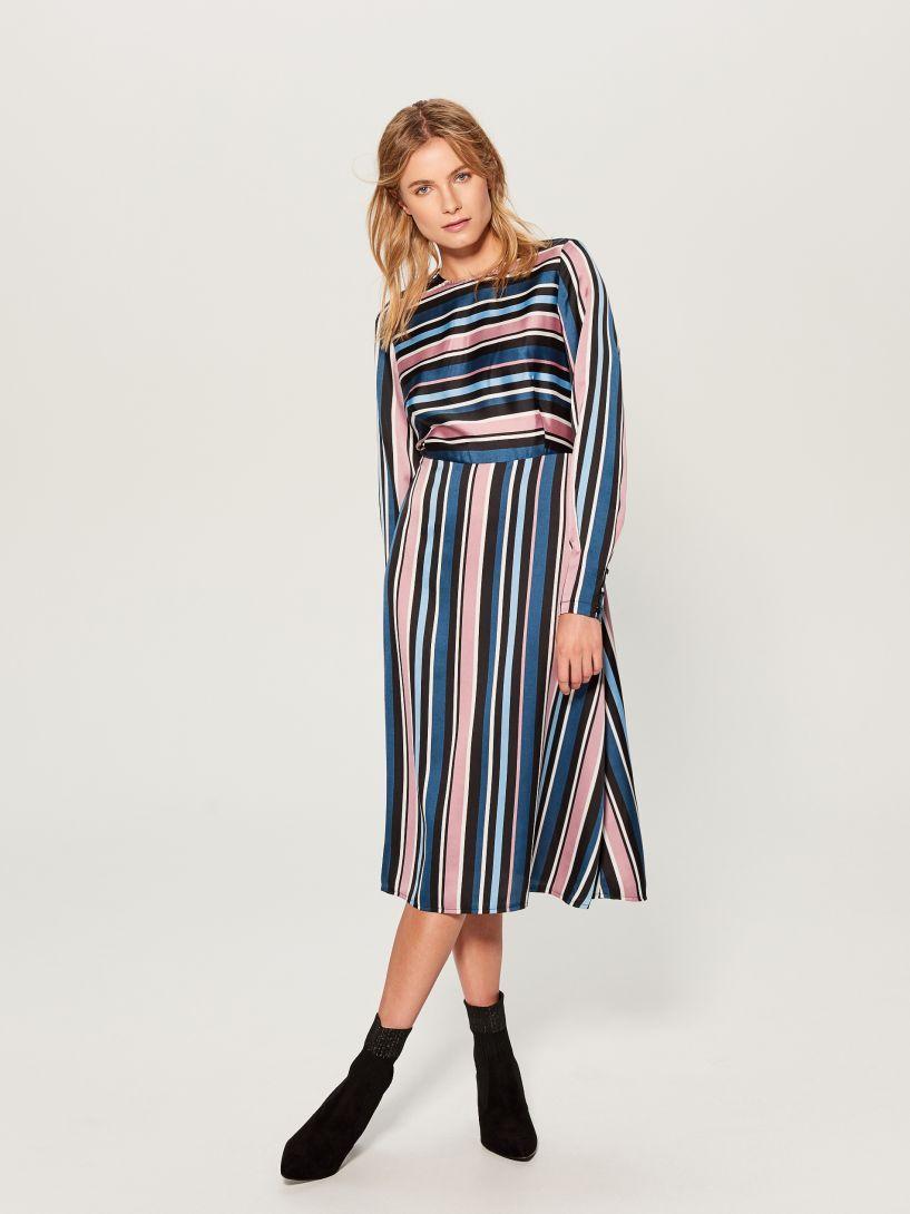 Proužkované midi šaty - vícebarevná - UW485-MLC - MOHITO  a33f30b1782