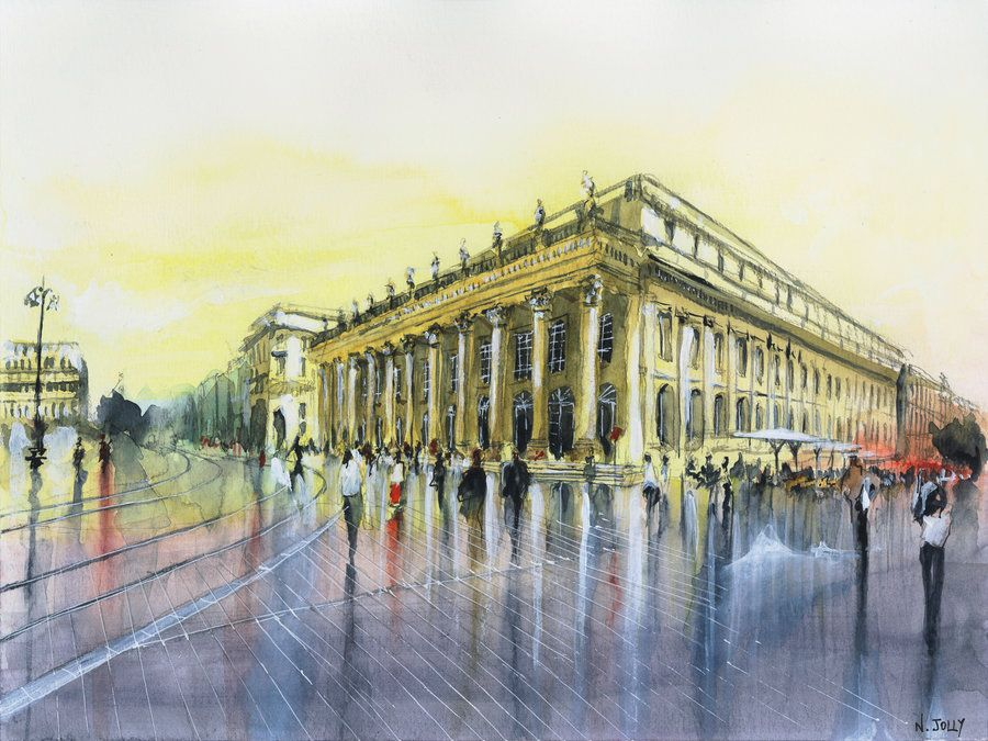 Le Grand Theatre Watercolor By Nicolas Jolly Drawing