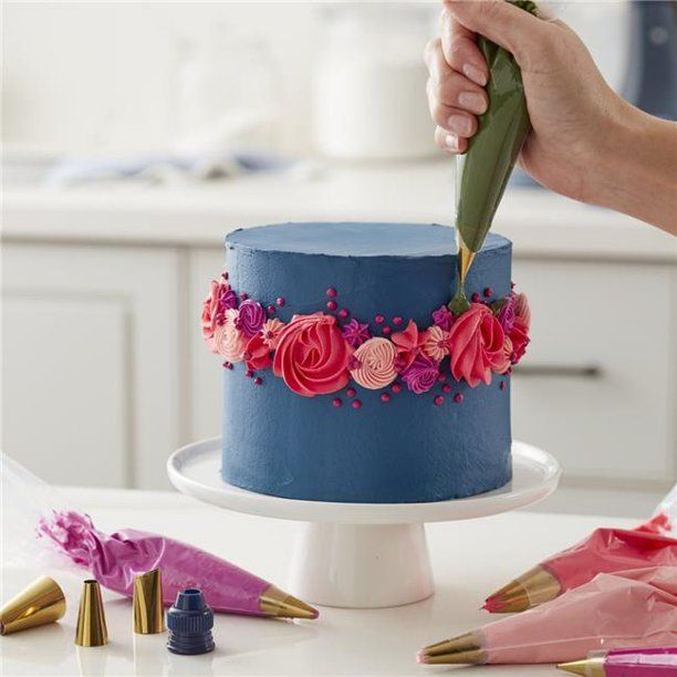Wilton W80009 Cake Decorating Set With Piping Tips 44 Navy Blue Gold Pack Of 17 Walmart Co In 2020 Cake Decorating Set Cake Decorating Supplies Cake Decorating