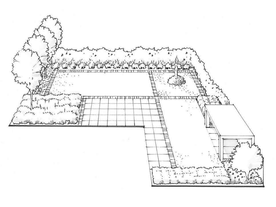 Landscaping Ideas for an L-Shaped Garden   Garden design ... on L Shaped Backyard Layout id=60105