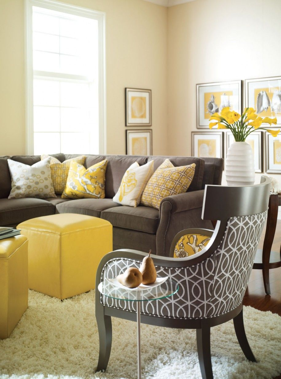 Grey Yellow Living Room Ideas With Black Chair Patterned And Brown Sofa  Also Five Yellow Cushion And Yellow Box Ottoman Plus White Fur Rug And  Charming ...