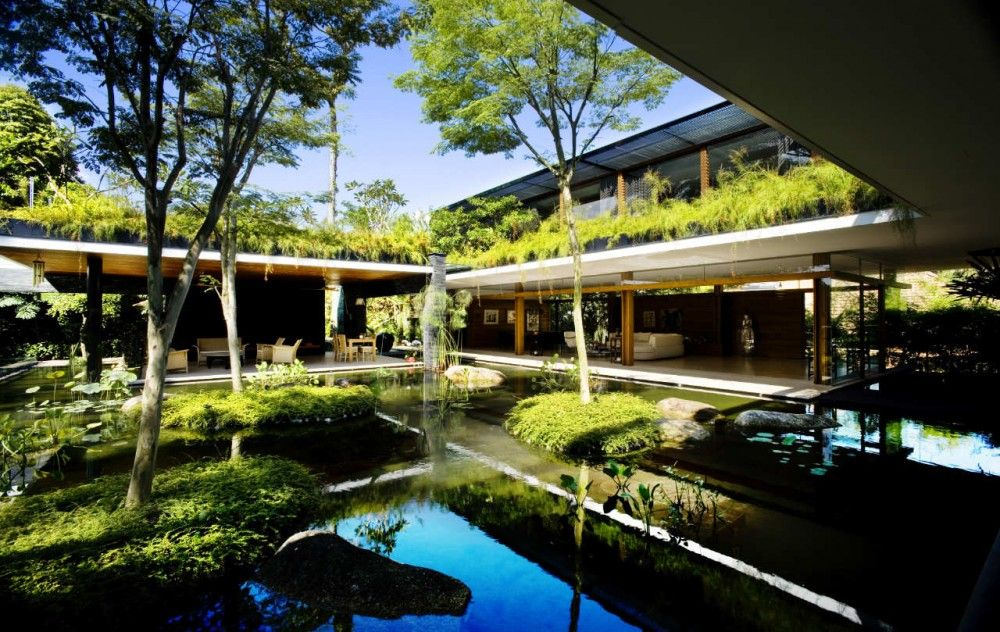 Houses: Luxury Sustainable Green Roof House Design, Home Design Ideas