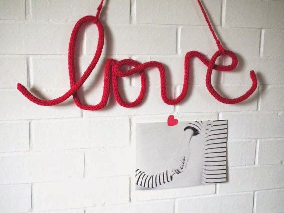 Items similar to crochet hanging love quote nursery wall decor valentines day gifts love tag cursive love word typography wall decor valentines day