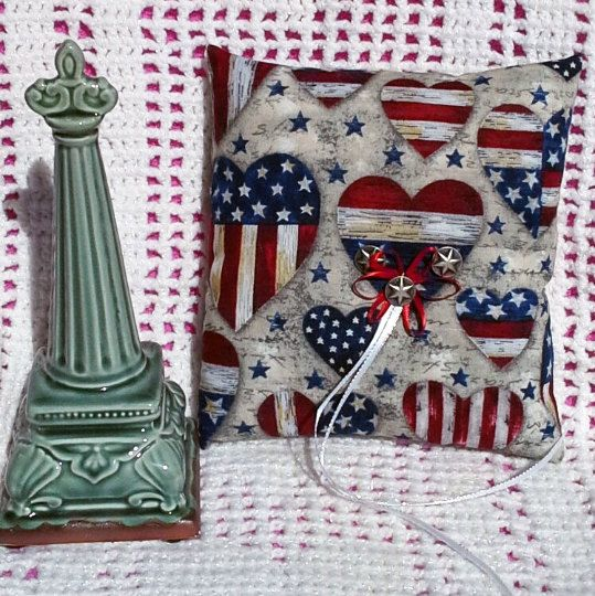Americana Ring Bearer Pillow, Bridal, Military Wedding, Patriotic by Whimsybags on Etsy