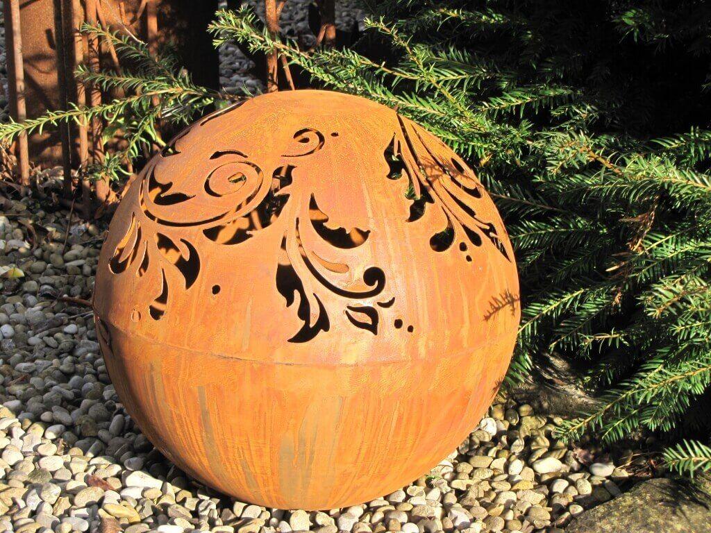 Edelrost kugel barock 40 cm gartendeko aus edelrost for Kugel rost garten