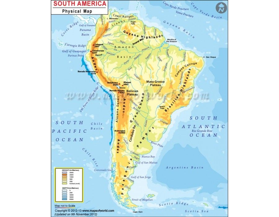 Buy South America Continent Physical Map Online Continents Map