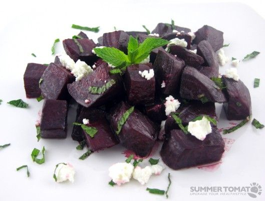 Roasted Beets With Fresh Mint and Chevre, sounds a lot better than Beet salad