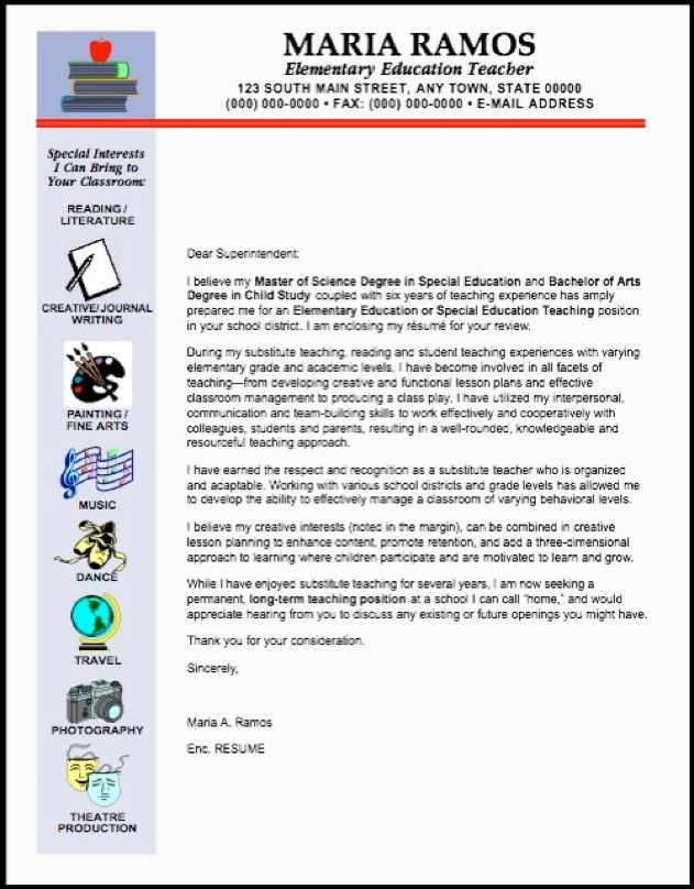 Teacheru0027s Resume with graphics highlighting her interests Job - cover letter for teachers resume