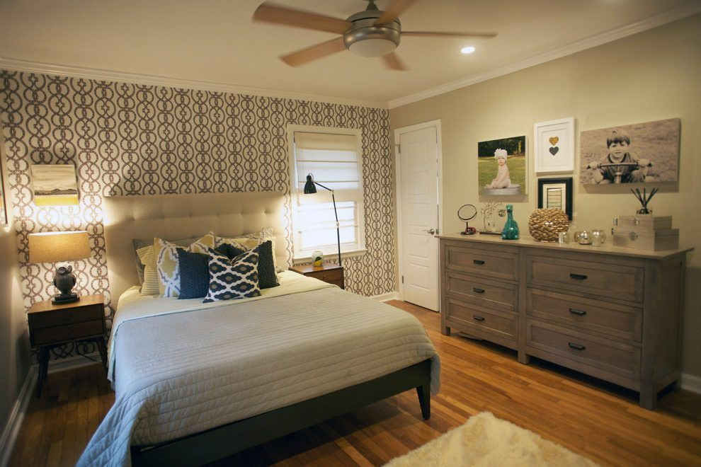 Off Center Window Ideas Bedroom Contemporary With Bold Pattern
