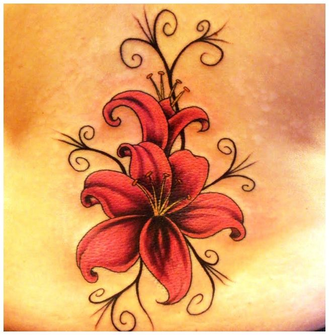 Photo Realistic Flower Tattoos Google Search: Small Lily Flower Tattoos - Google Search