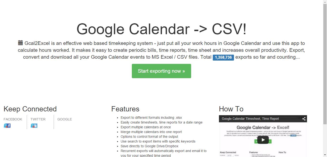Export Google Calendar To Excel or Google Spreadsheet