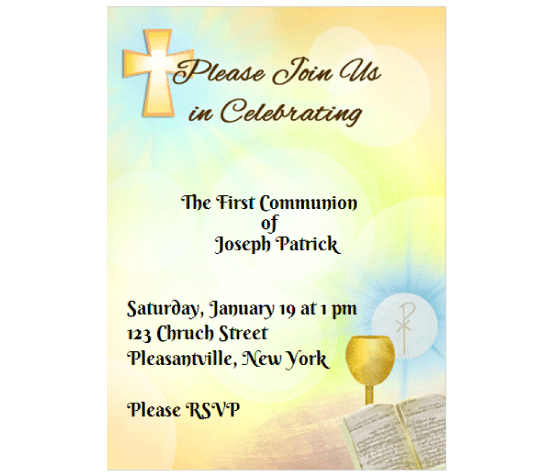 image relating to First Communion Invitations Free Printable identify Obtain this Holy Communion Invitation Card and other cost-free