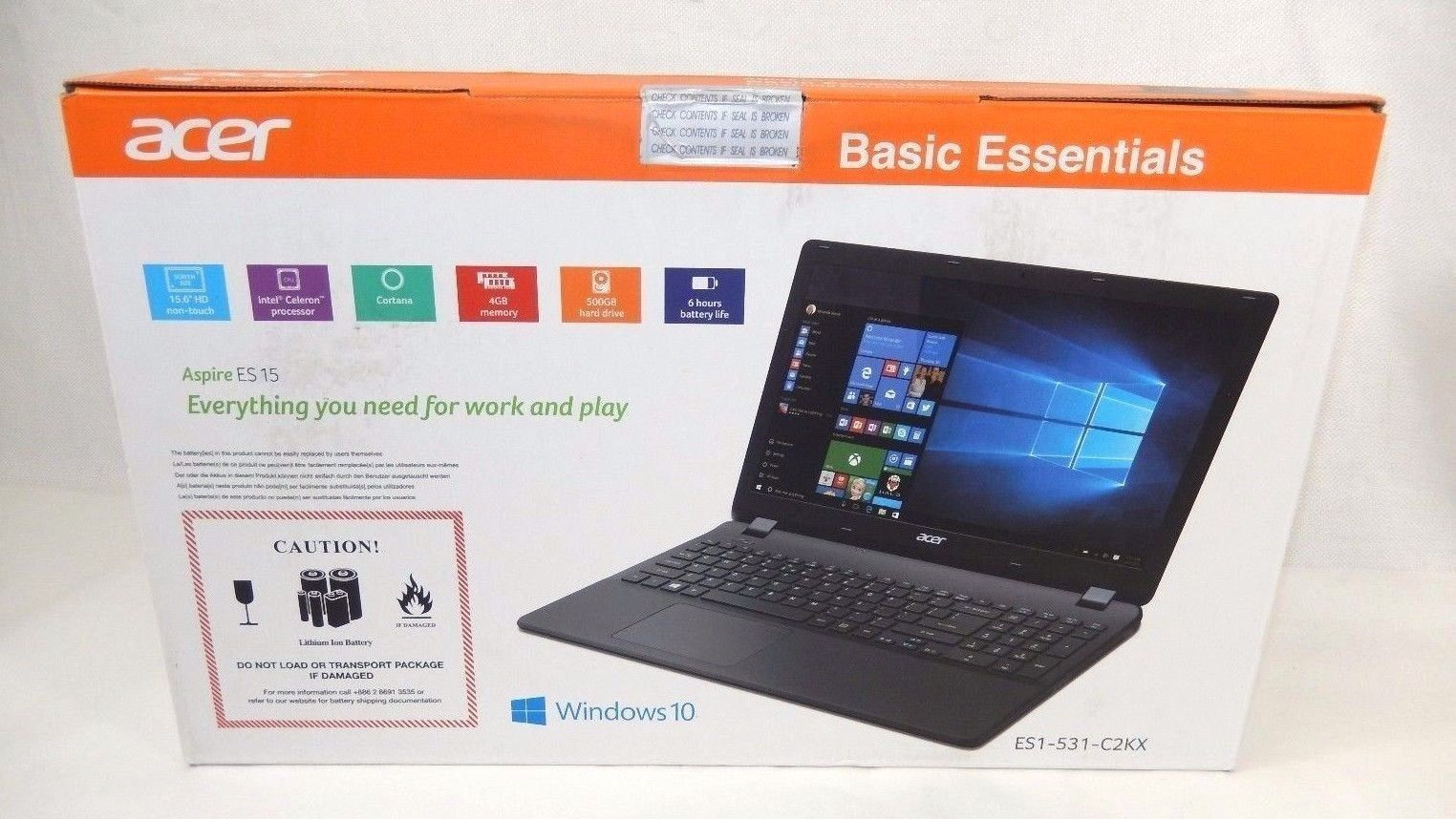 Acer Aspire ES15 Basic Essentials 4GB Ram 500GB Hard drive ES1-531-C2KX FREE S/H