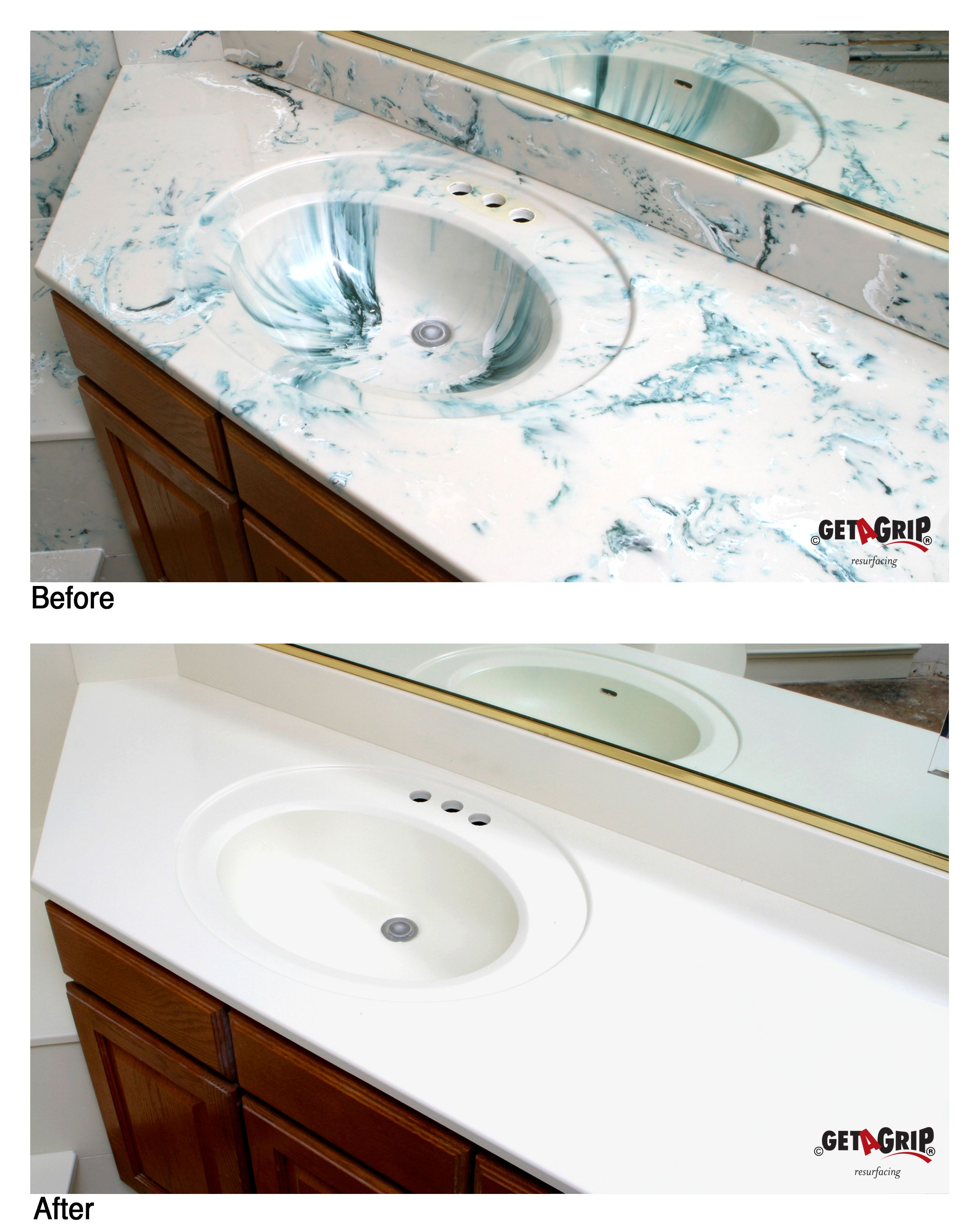 Cultured Marble Resurfacing Painting Bathroom Countertops