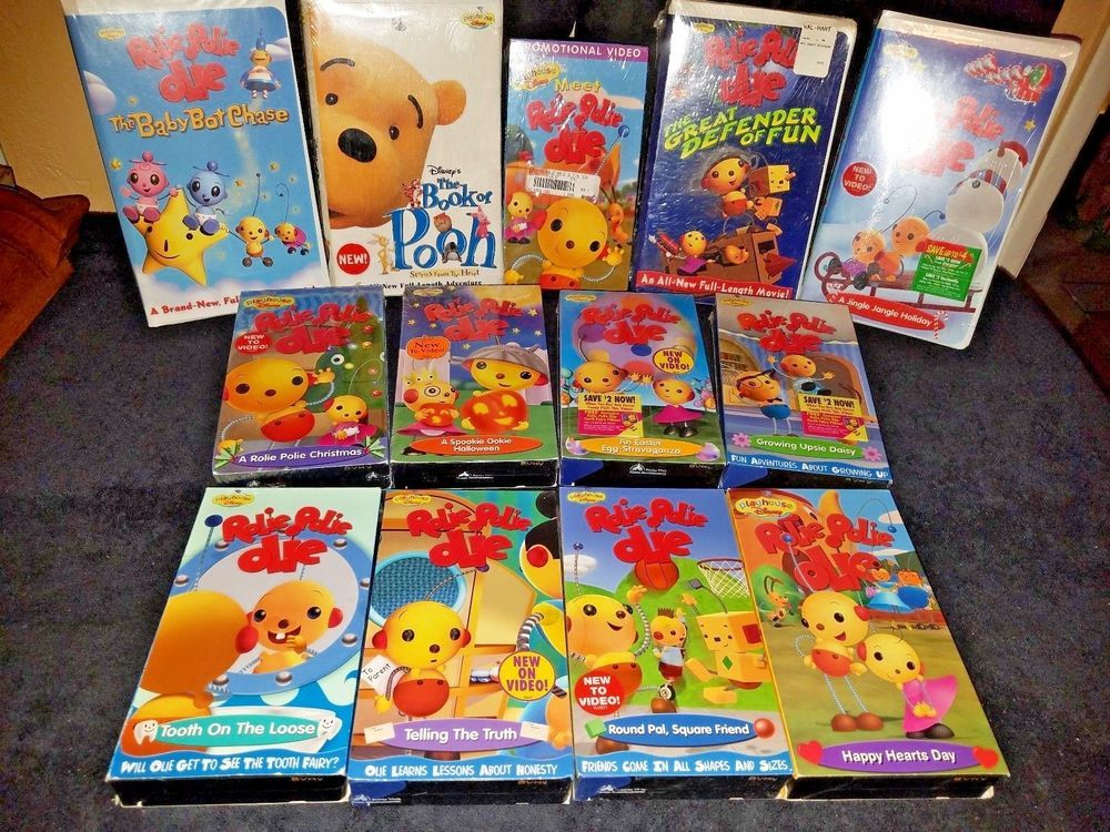 Disney Vhs Lot Of 14 Book Of Pooh Rolie Polie Olie Collection