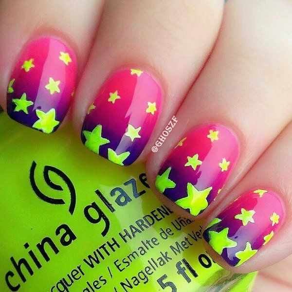 Pink Nail With Nite Green Stars. This is all sorts of perfect! I love it, so clever! :)
