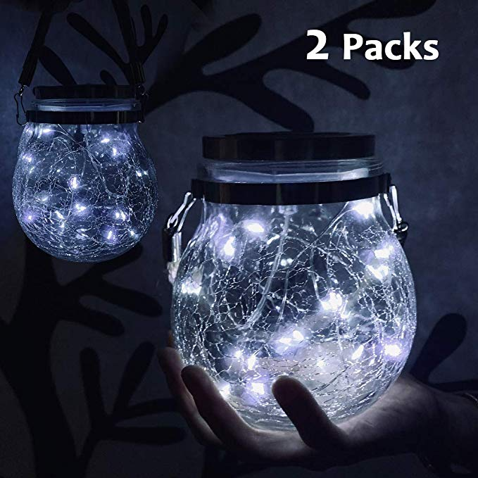 Nurluce Solar Lights Outdoor Decorative 2 Pack Hanging Lanterns Decorative 20 Led Desk Lamp White So In 2020 Hanging Solar Lights Solar Mason Jars Outdoor Solar Lights