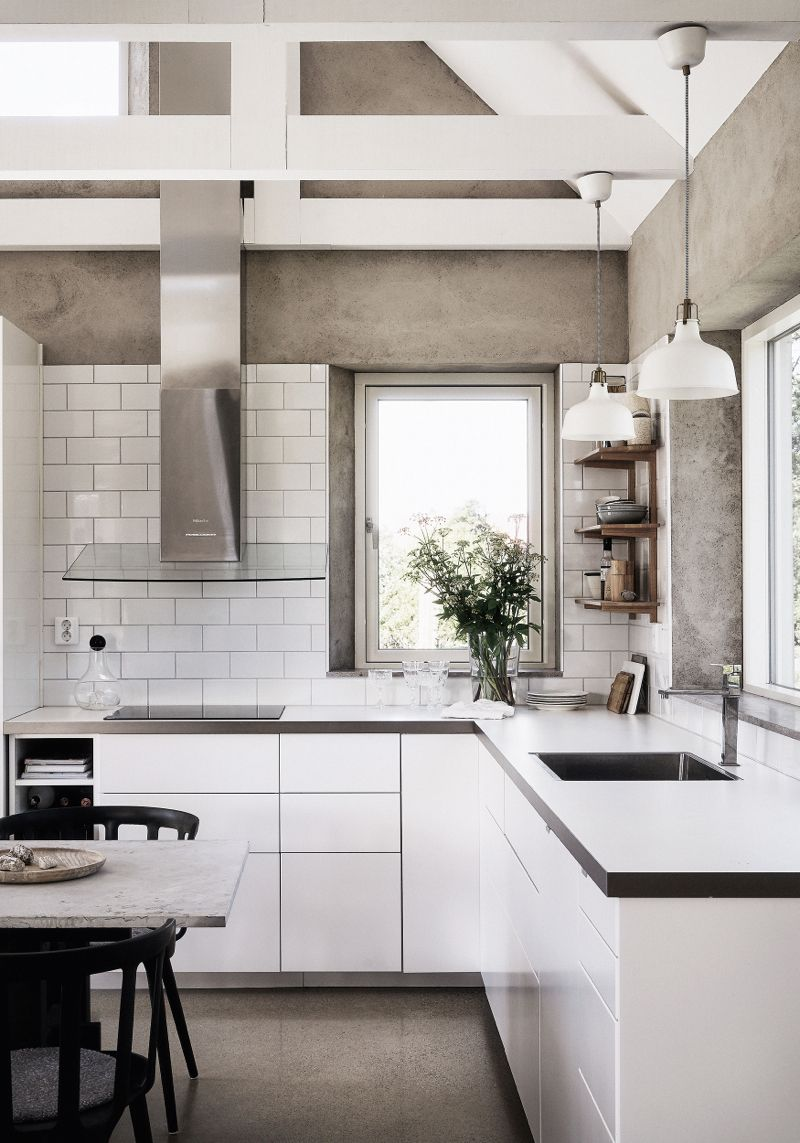 White modern kitchen textured warm toned walls