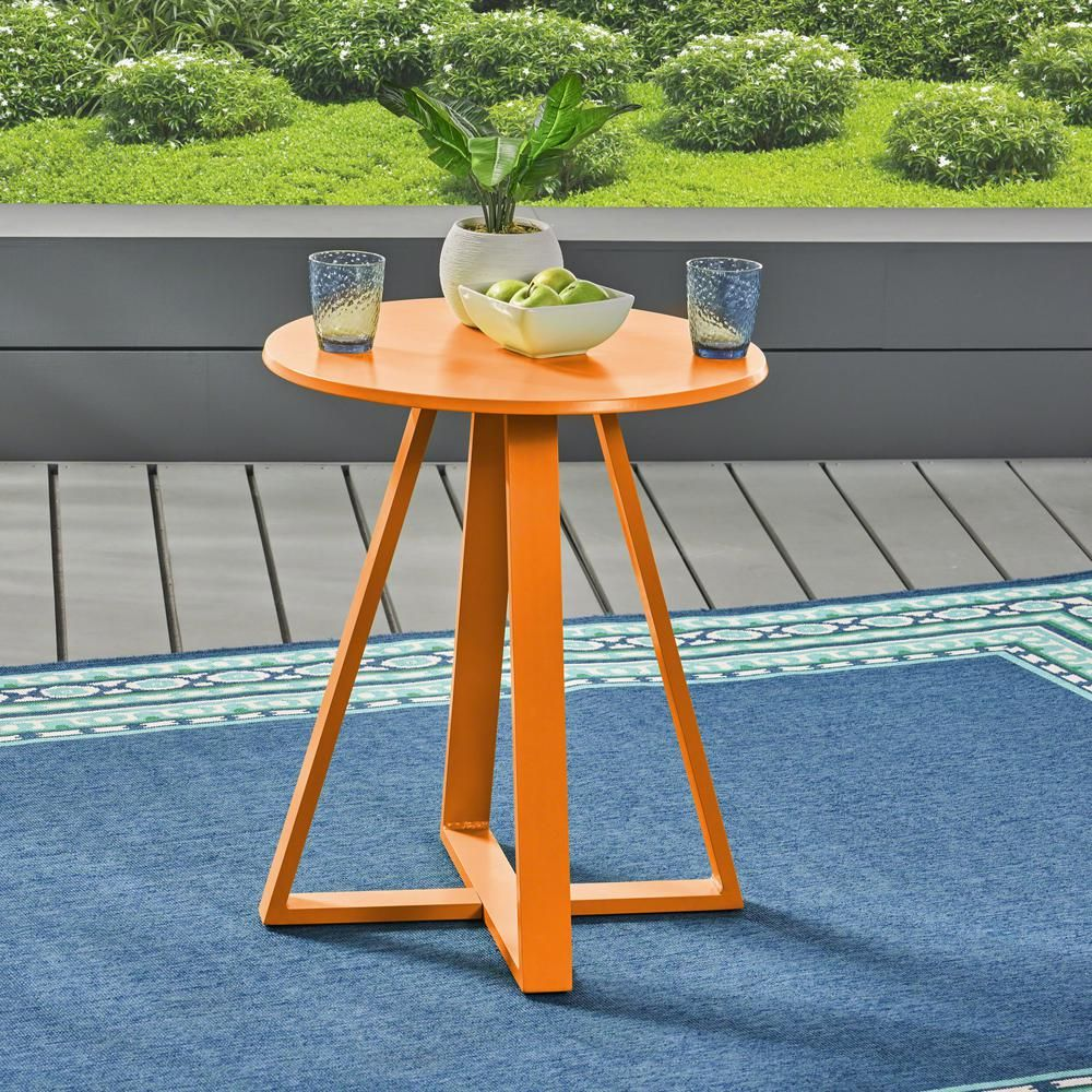 Noble House Haiti Matte Orange Round Metal Outdoor Bistro Table