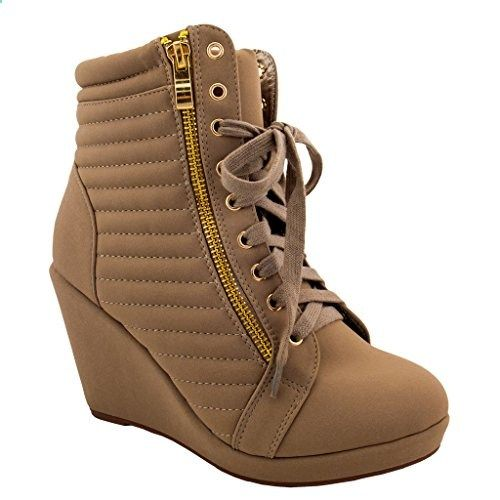 edcf8a6982f916 Women  High Top Wedge  Heel Sneakers Platform Lace Up Tennis Shoes  Ankle  Bootie 7.5 US. Read more description on the website.