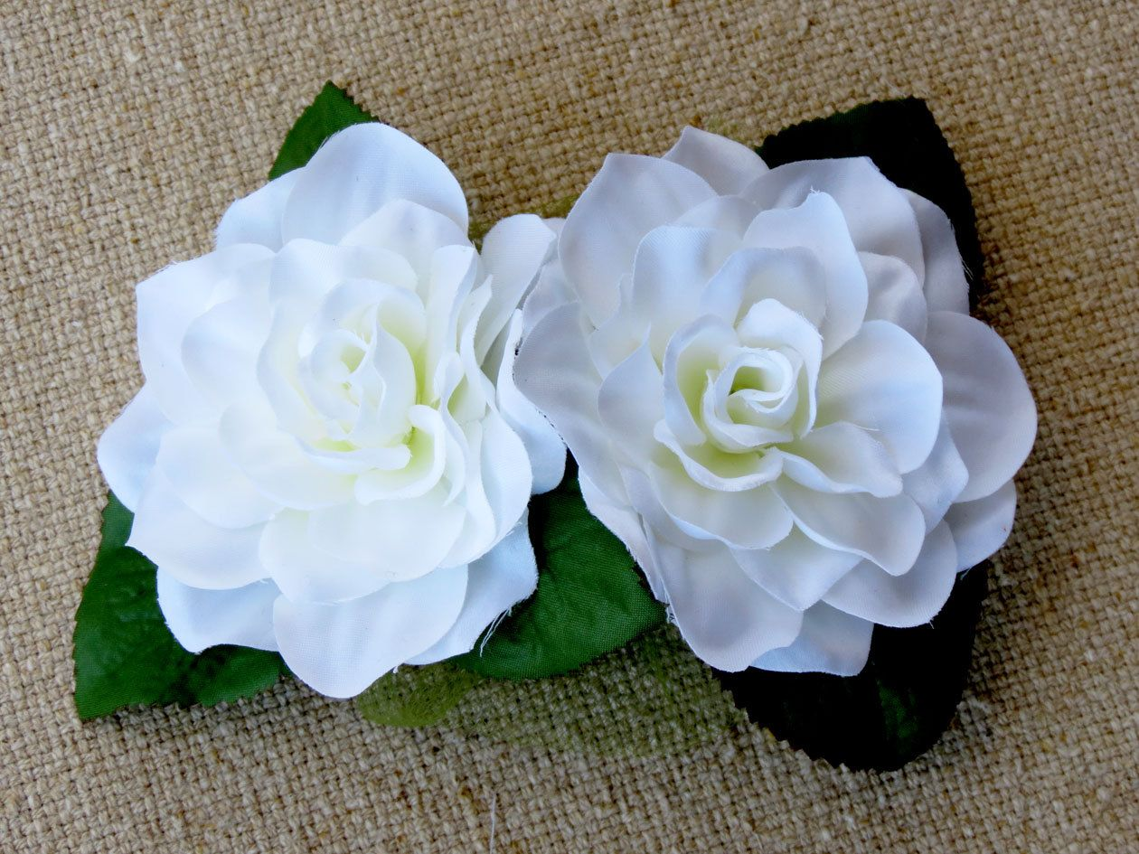 Gardenia Hair Clip White Flower Barrettes White Flower Hair Clip Billie Holiday Floral Hairpiece Flow White Flower Hair Clip Flower Hair Clips Hair Clips