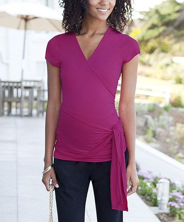 5b9fbff2a6ff8 This Cassis Side-Tie Maternity Wrap Top by JoJo Maman Bébé is perfect!  #zulilyfinds $29.99, regular 56.00