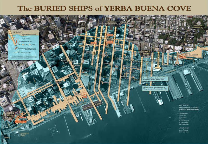 A map of the buried ships under San Francisco. | Olde San Francisco Yerva Buena California Gold Rush Map on