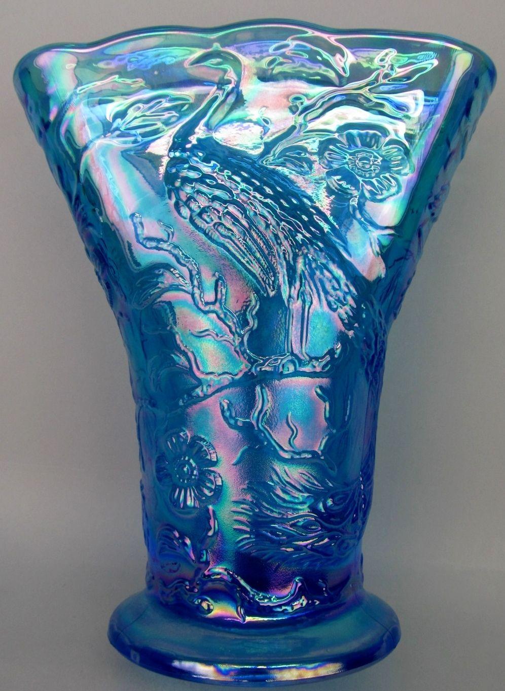 Fentons peacock garden on a celeste blue carnival glass fan vase fentons peacock garden on a celeste blue carnival glass fan vase made for singleton bailey reviewsmspy