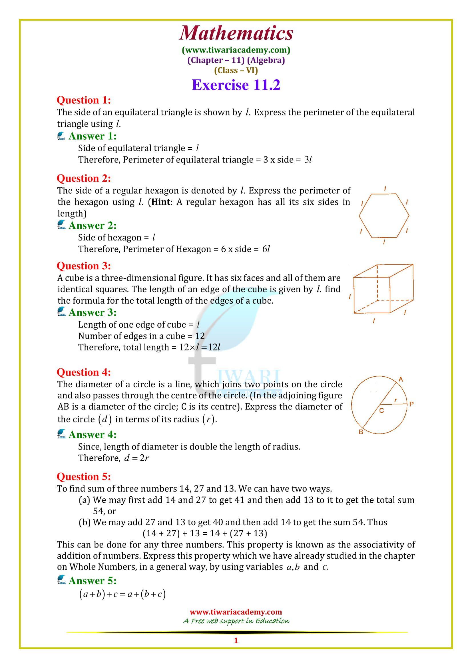 Ncert Solutions For Class 6 Maths Chapter 11 Algebra In Pdf 2020 21 Class 6 Maths Maths Solutions Math [ 2339 x 1653 Pixel ]