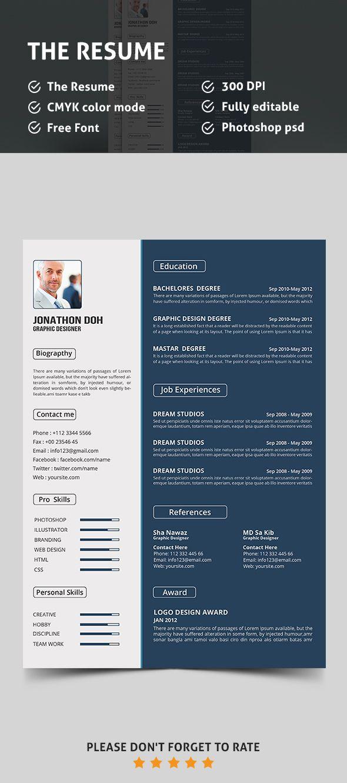 Free Resume Psd Template Resume Template Free Cv Resume Template Resume Design Free