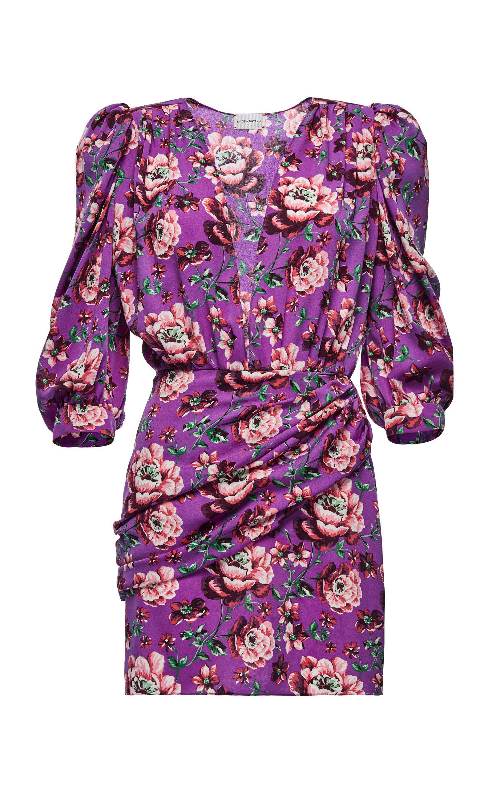 f9564e85228d Magda Butrym Faro Ruched Floral-Print Silk-Satin Mini Dress in 2019 ...