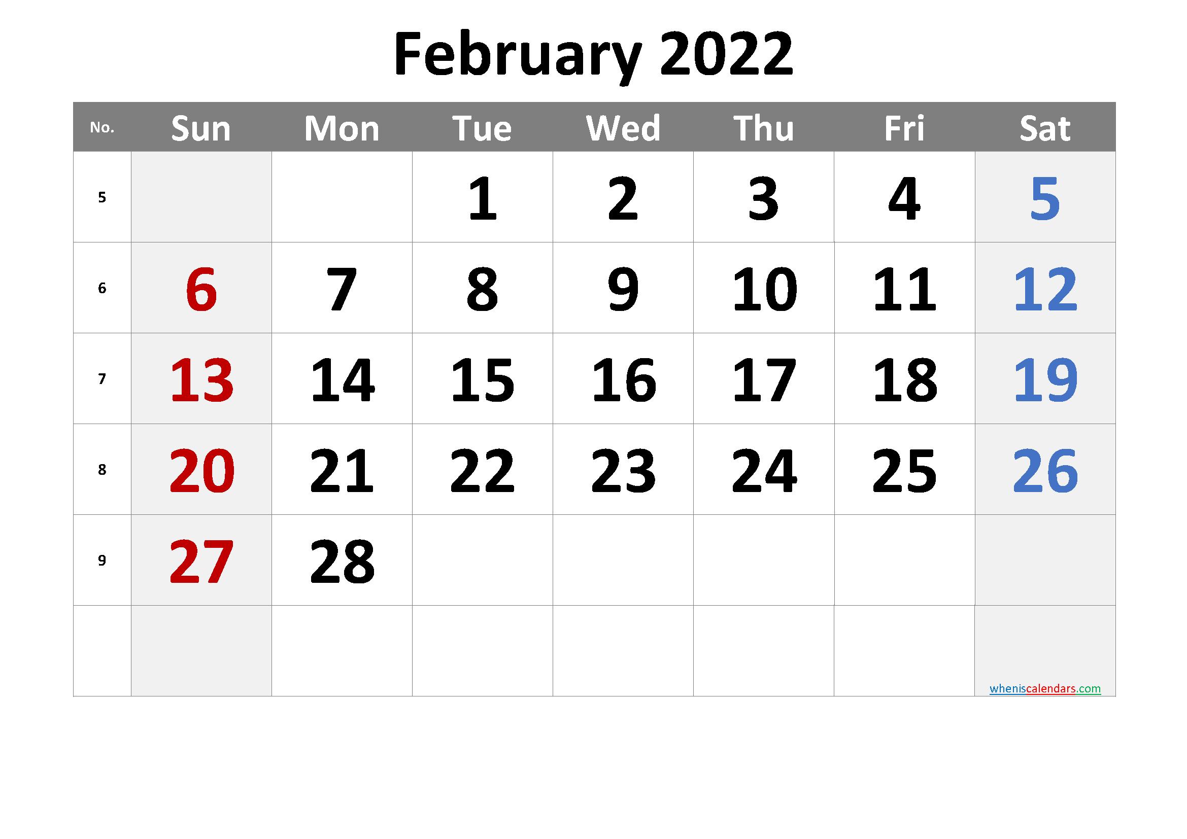Calendar Template February 2022.February 2022 Printable Calendar With Week Numbers Free Premium Calendar Printables Printable Calendar Template Calendar Word