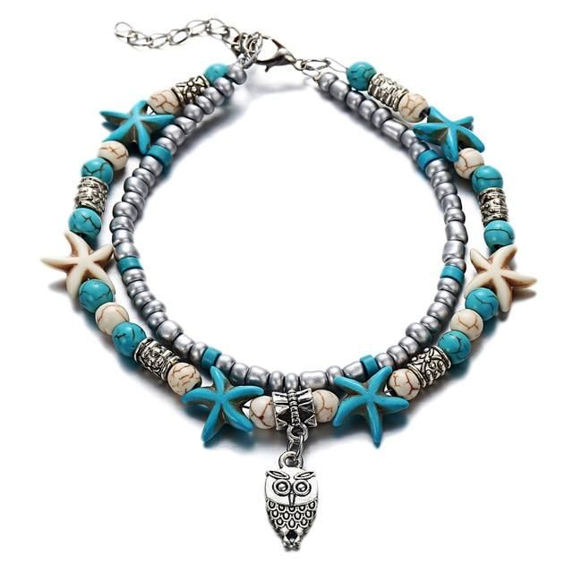Fashion Double Layer Anklet for Fashionistas. Gift for Best Friend, Wife, Mom, Aunties, Daughters. Anklet Jewelry with Animal Pendants   4 Gallery