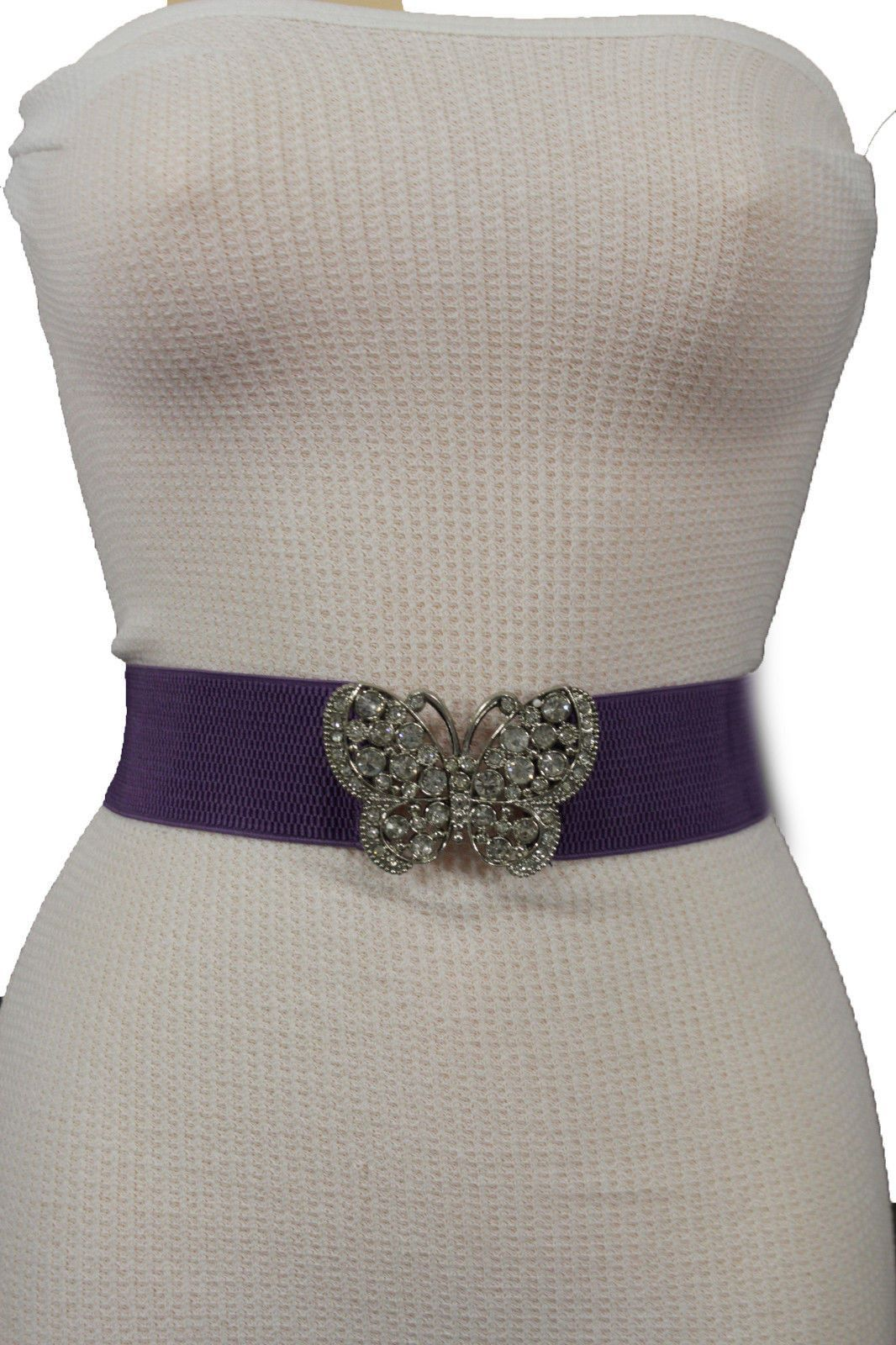 Women Fashion Belt Pink Elastic Band Hip Waist Silver Metal Butterfly Buckle S M