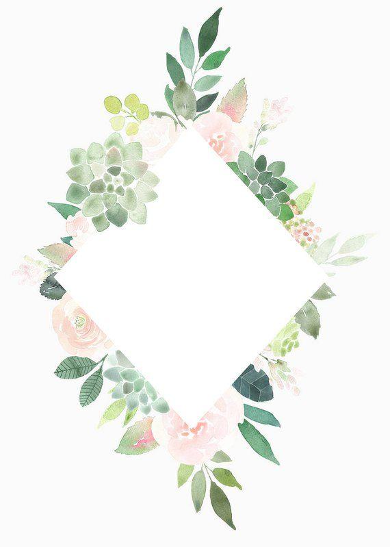 Succulents Clipart Frames, Succulent Border, roses frame