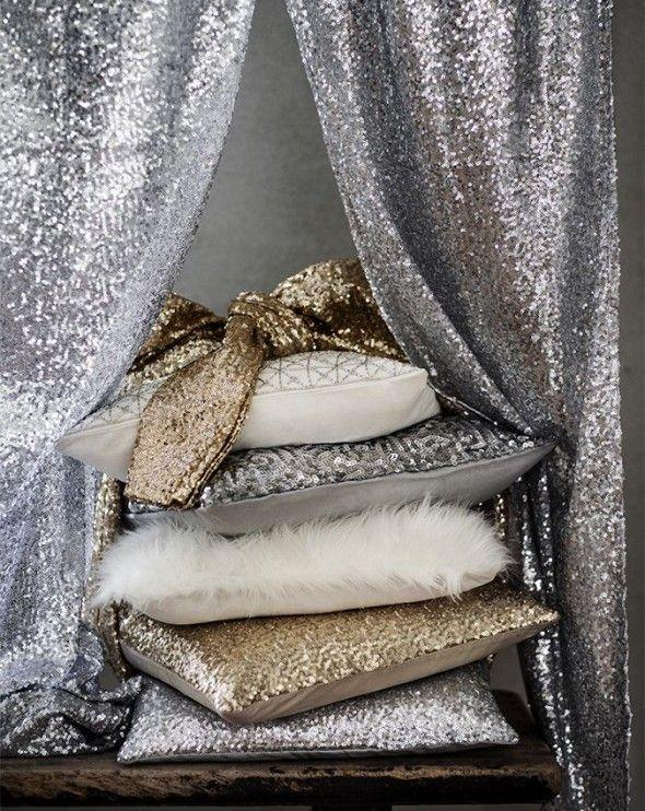 Glitter Cushions Black Gold PAIR. Initial