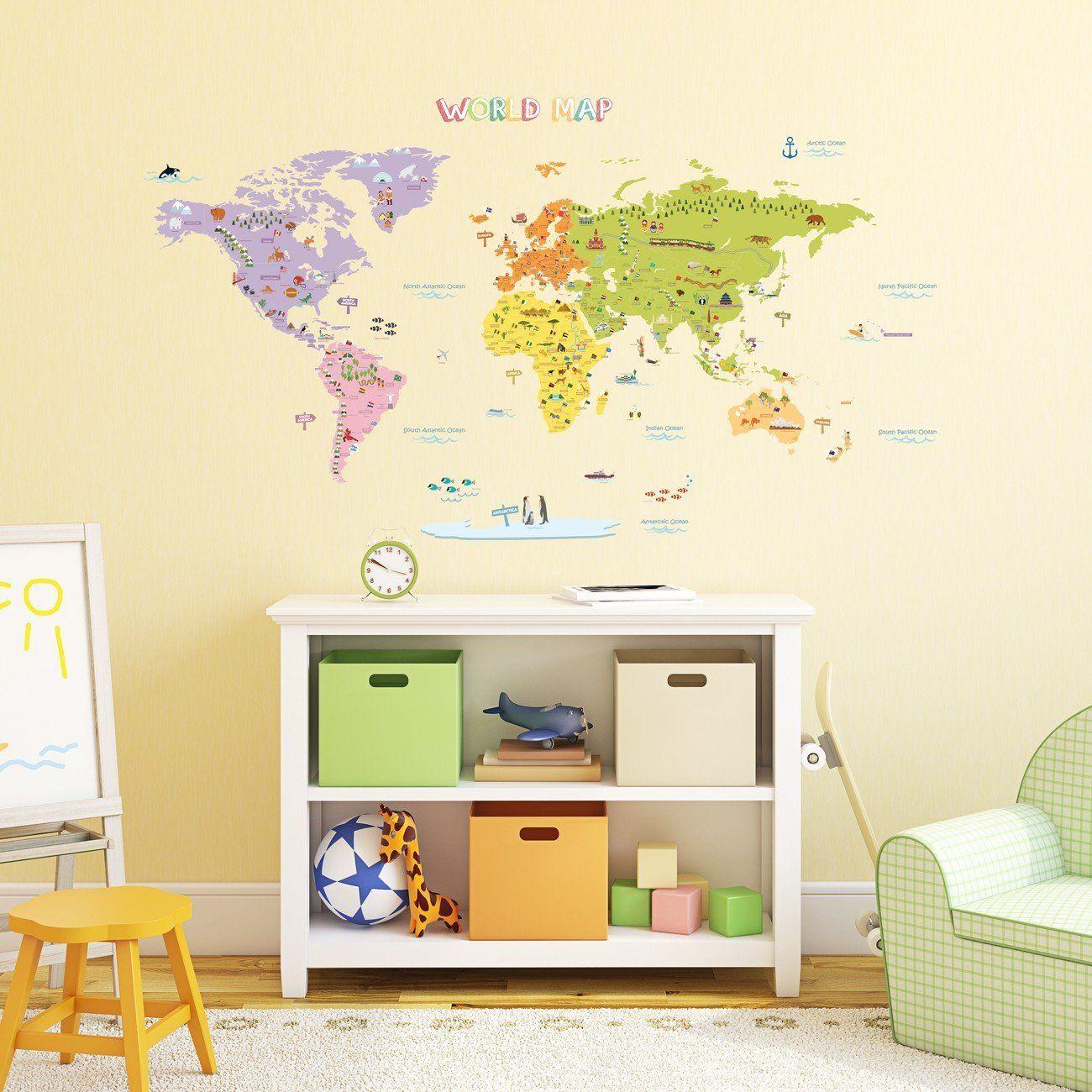 Decowall DMT 1306 Farben Frohe Weltkarte Wandsticker Wandaufkleber Wandtattoo  Kinderzimmer (Groß): Amazon